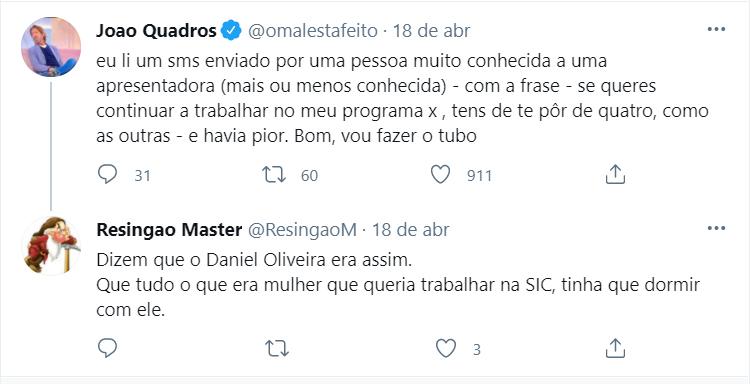 """Daniel Oliveira acusado de assédio sexual: """"Se queres continuar a trabalhar no meu programa, tens de te pôr de quatro, como as outras"""""""