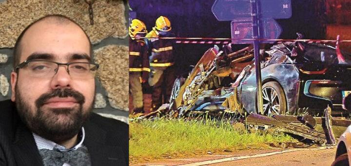 Amigos de 17 e 30 anos morrem em violento despiste ao volante de um BMW, em Guimarães