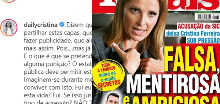 """Cristina Ferreira revolta-se com capa de revista insultuosa: """"Falsa, mentirosa e ambiciosa"""""""